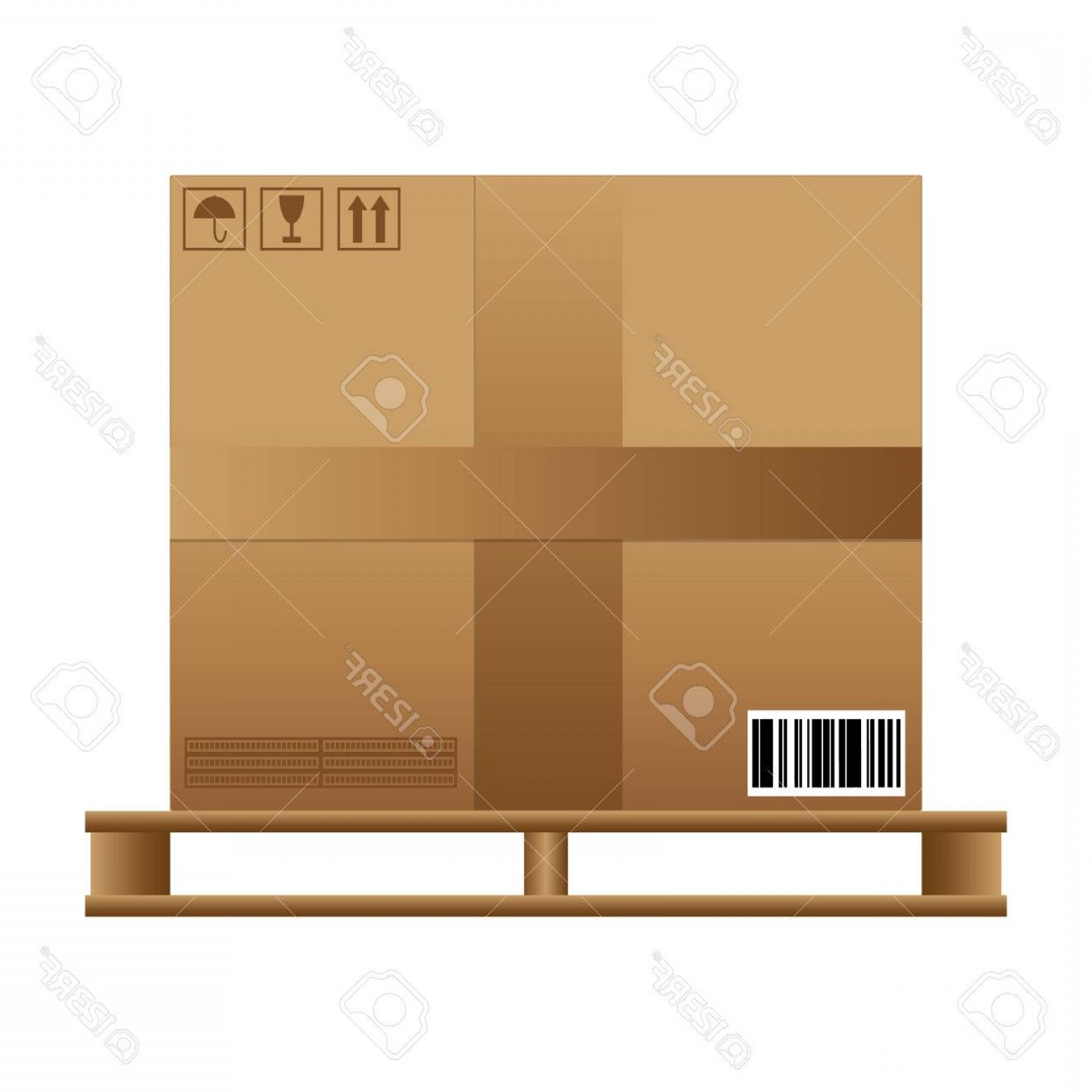 Pallet Vector Graphic: Photostock Vector Big Brown Closed Carton Delivery Box With Fragile Signs And Barcode On Wooden Pallet Vector Illustra