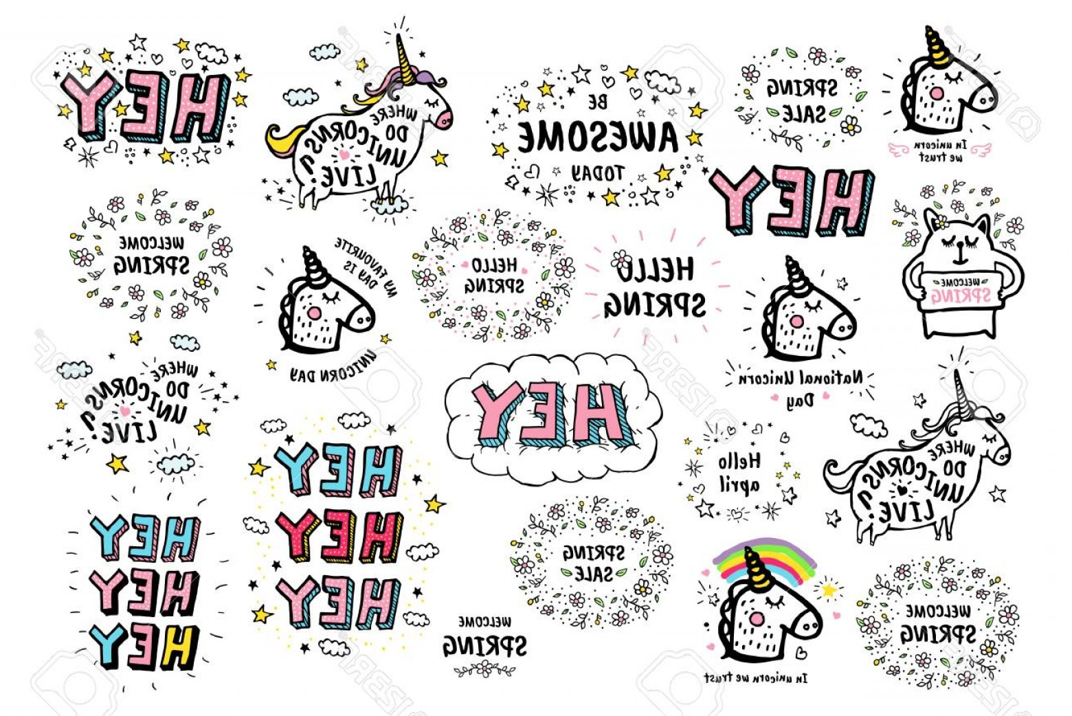 Cute Design Elements Vector Set: Photostock Vector Big Set Of Vector Cute Doodles Illustrations With Text And Graphic Design Elements Fancy Fantasy Ani