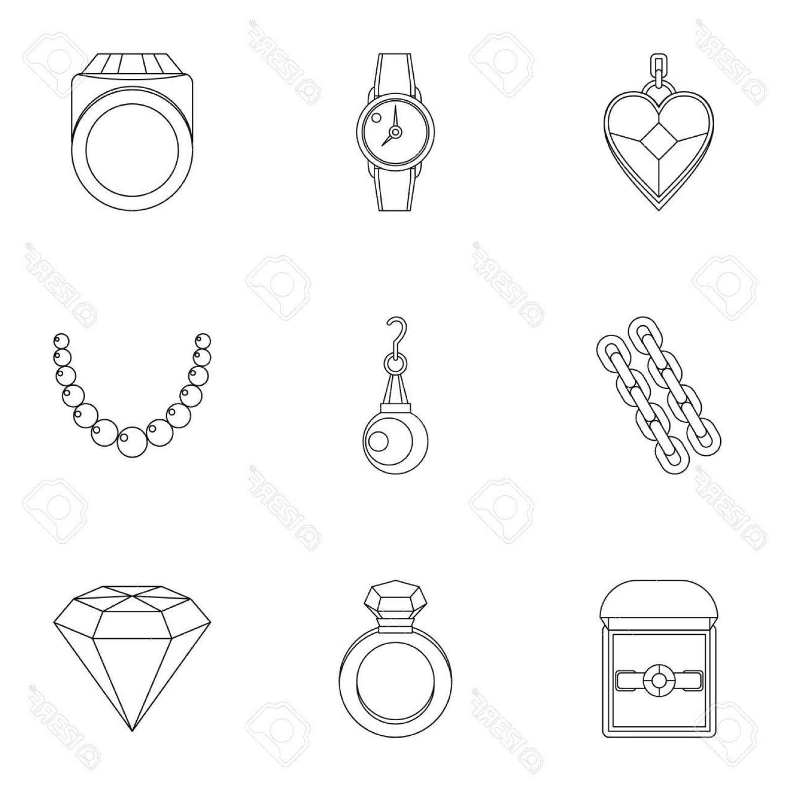 Jewelry Vector Line Art: Photostock Vector Bijouterie Icon Set Outline Style Set Of Jewelry Vector Icons For Web Isolated On White Background