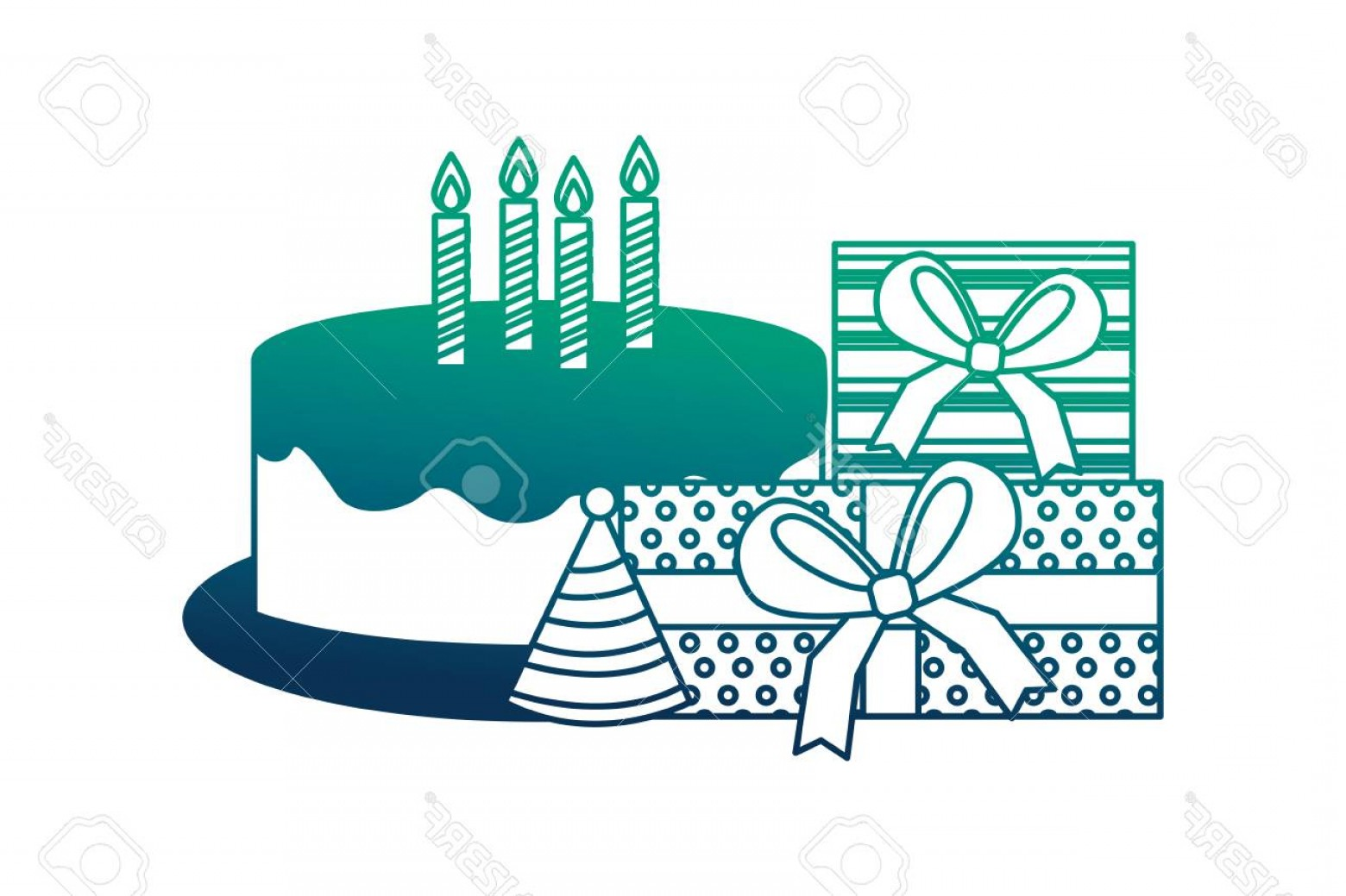 Teal Birthday Hat Vector: Photostock Vector Birthday Cake With Candles Gift Boxes Party Hat Vector Illustration Neon Design