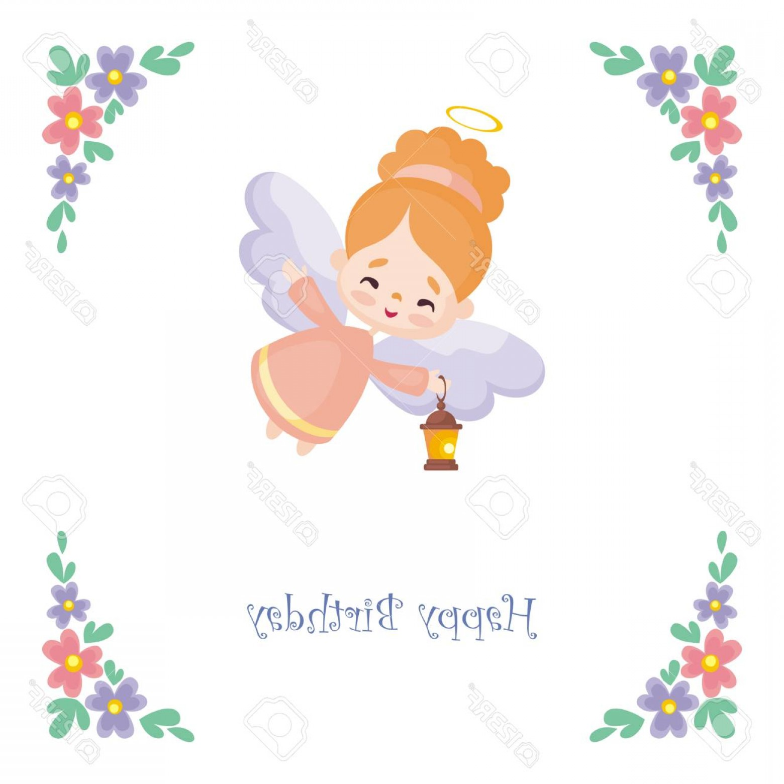 Little Angel Vector: Photostock Vector Birthday Greeting Card With The Image Of A Pretty Little Angel Vector Illustration On A White Backgr