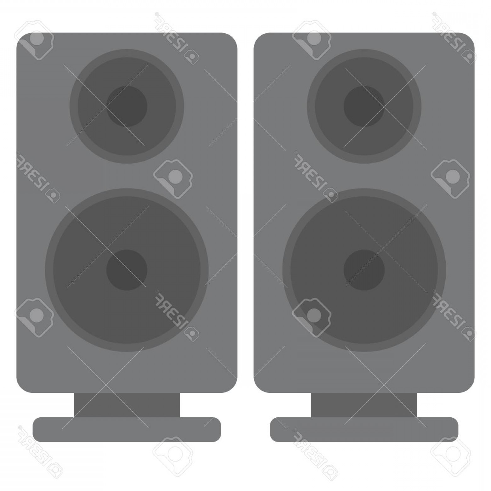 Speakers Vector Black: Photostock Vector Black Acoustic Sound Speakers Vector Illustration Flat Style Design Colorful Graphics