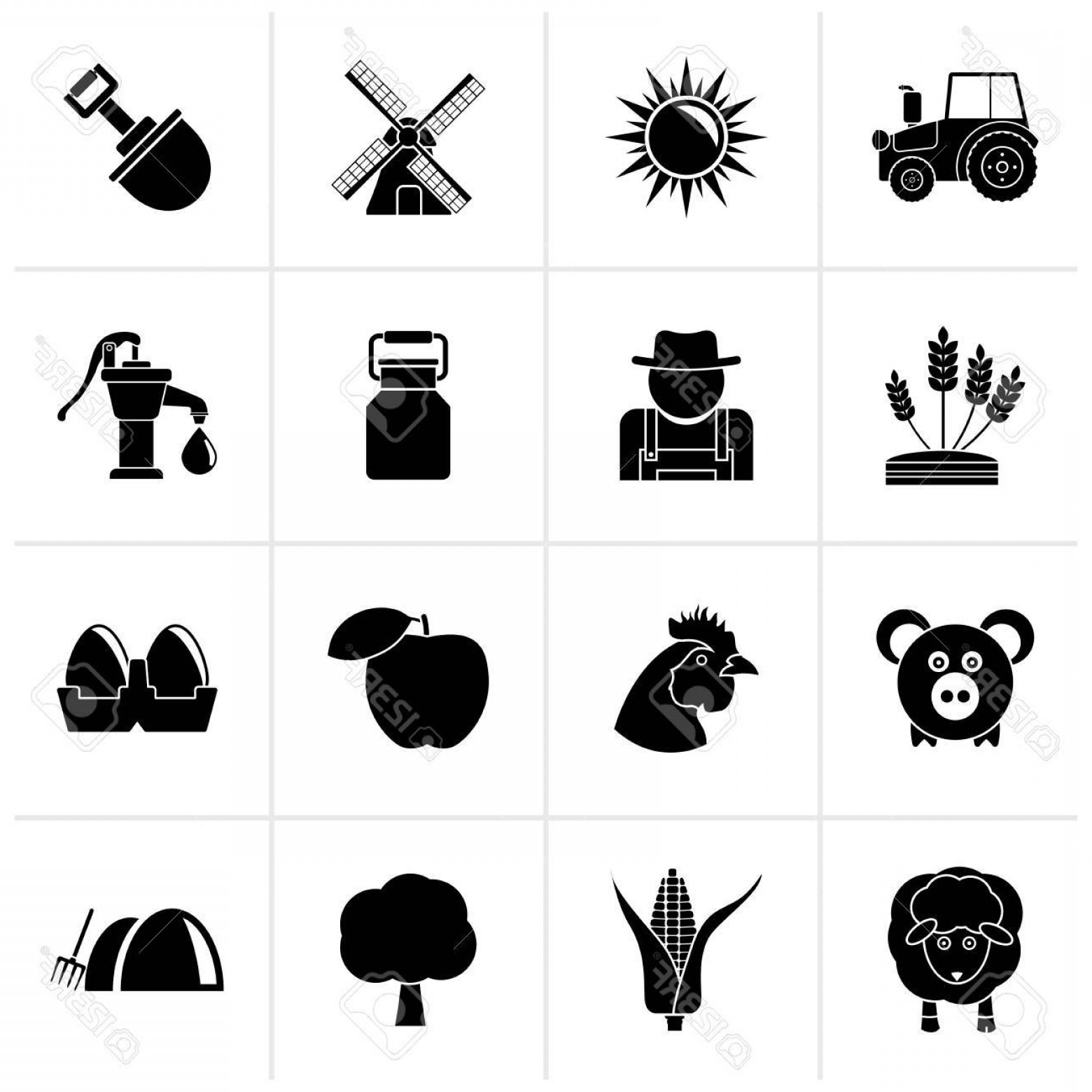 Agriculture Vector Icons: Photostock Vector Black Agriculture And Farming Icons Vector Icon Set