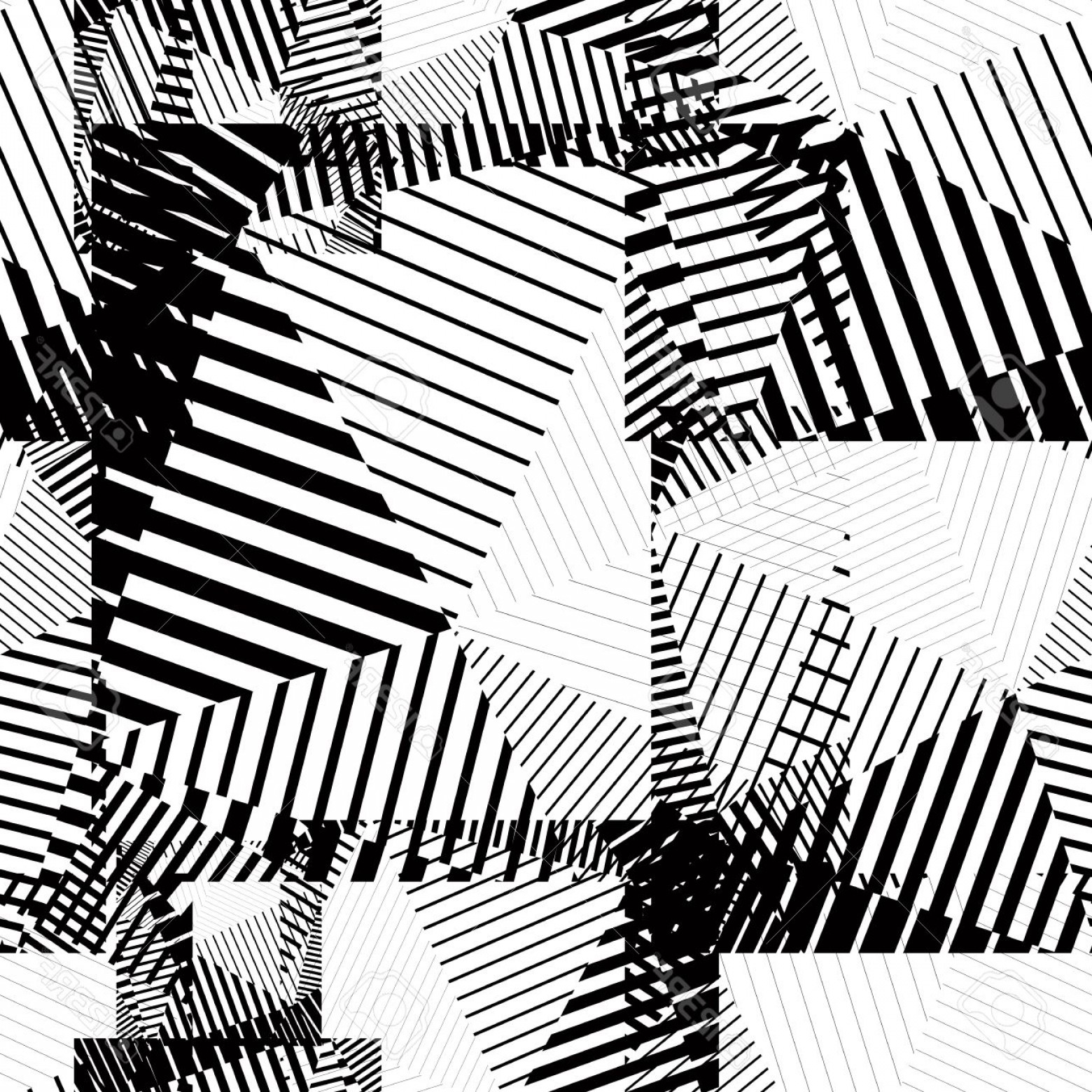 Black Abstract Lines Vector: Photostock Vector Black And White Abstract Lines Seamless Pattern Vector Psychedelic Wallpaper With Stripes And Geomet