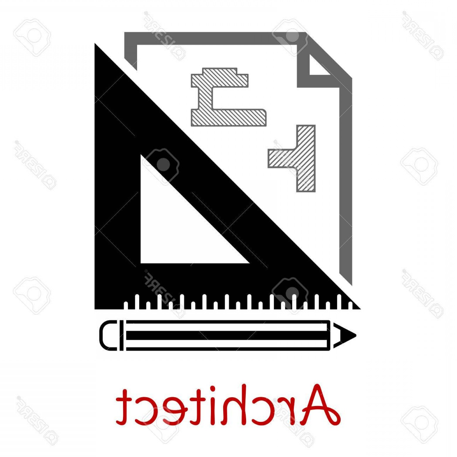 Residential Blueprint Vector Black: Photostock Vector Black And White Architect Icon With A Building Blueprint Right Angle Set Square And Pencil With Text