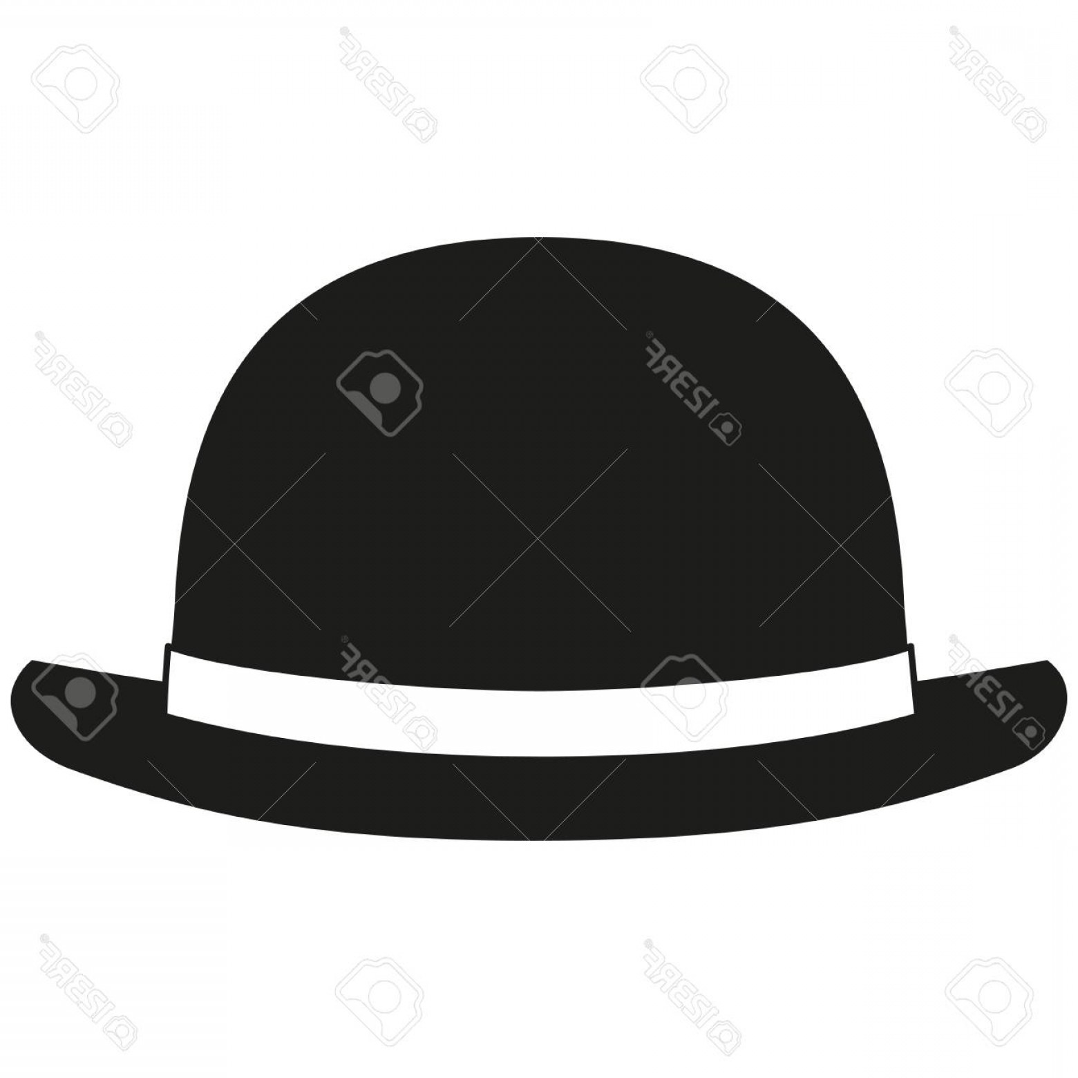 Bowler Hat Vector: Photostock Vector Black And White Bowler Hat Silhouette Hipster Themed Vector Illustration For Gift Card Certificate S