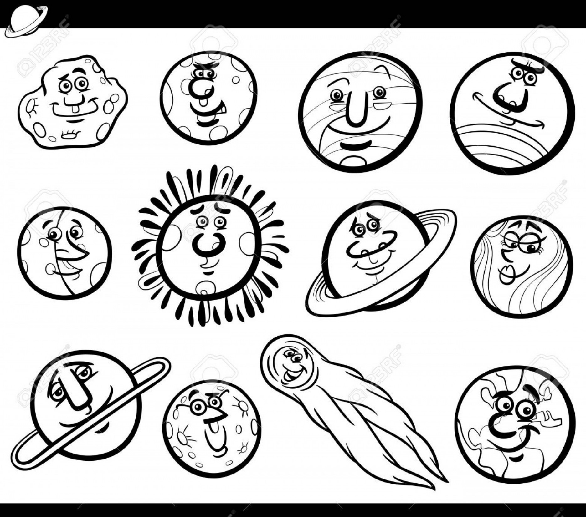 Funny Black And White Vector: Photostock Vector Black And White Cartoon Illustration Of Funny Orbs And Planets From Solar System Space Comic Charact