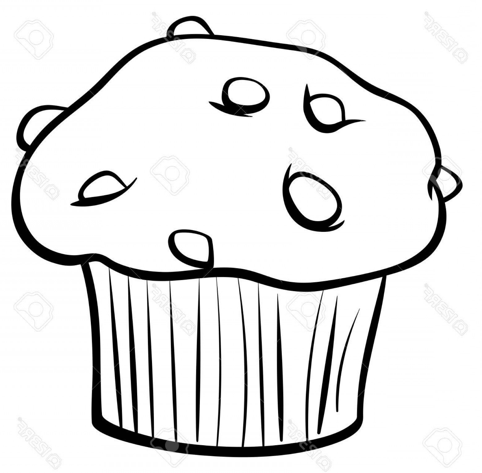 Chocolate Clip Art Vector: Photostock Vector Black And White Cartoon Illustration Of Sweet Muffin Cake With Chunks Of Chocolate Clip Art Food Obj