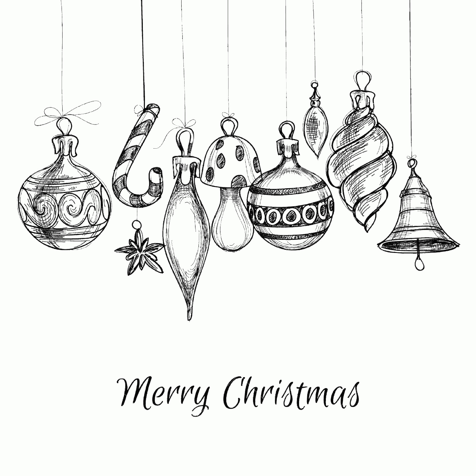 Black And White Christmas Ornament Vector Art: Photostock Vector Black And White Christmas Hand Drawn Ornaments