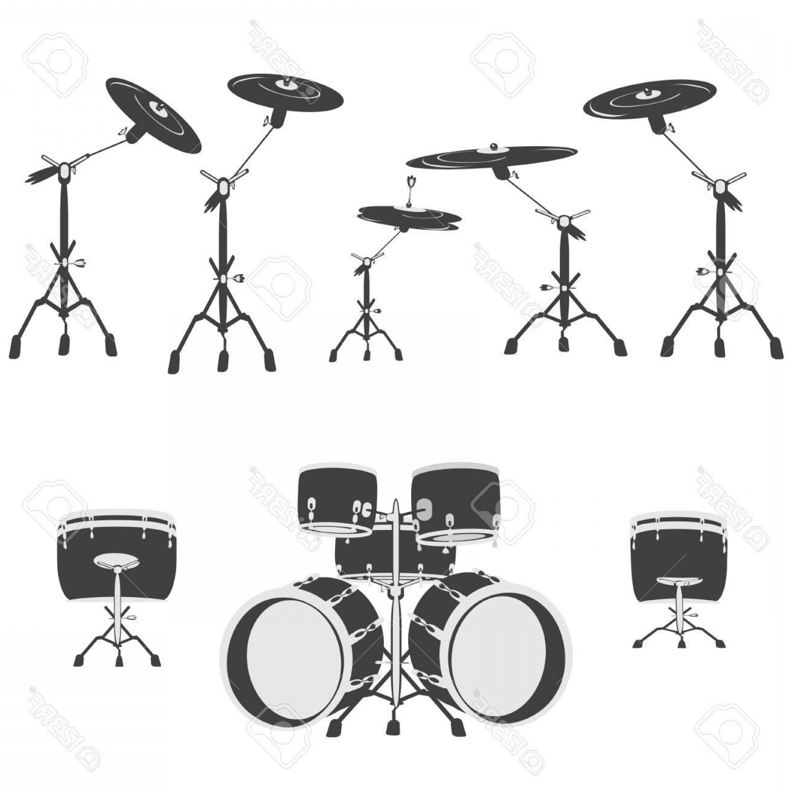 Kick Drum Vector: Photostock Vector Black And White Drum Set Vector