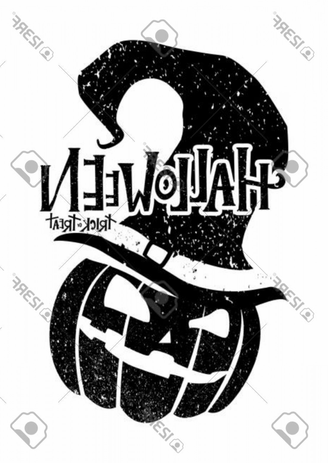 Black And White Flyer Vectors: Photostock Vector Black And White Halloween With Pumpkin In A Witch Hat Halloween Illustration For Postcard Banner Fly