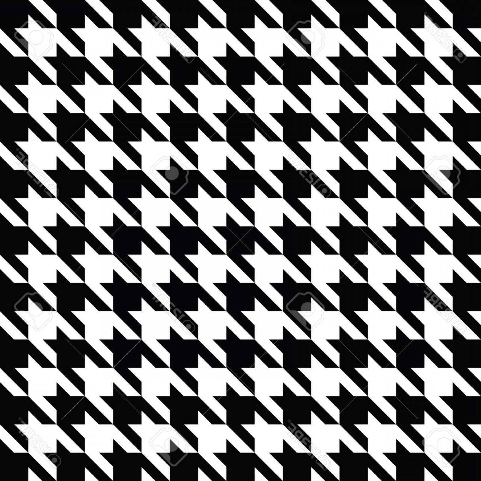 Houndstooth Vector: Photostock Vector Black And White Houndstooth Pattern Vector Classical Checkered Textile Design