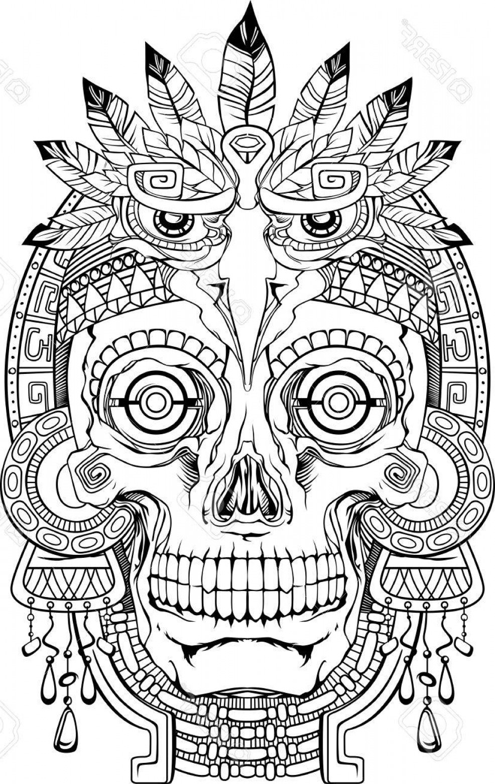Jewelry Vector Line Art: Photostock Vector Black And White Indian Skull With Jewelry Vector