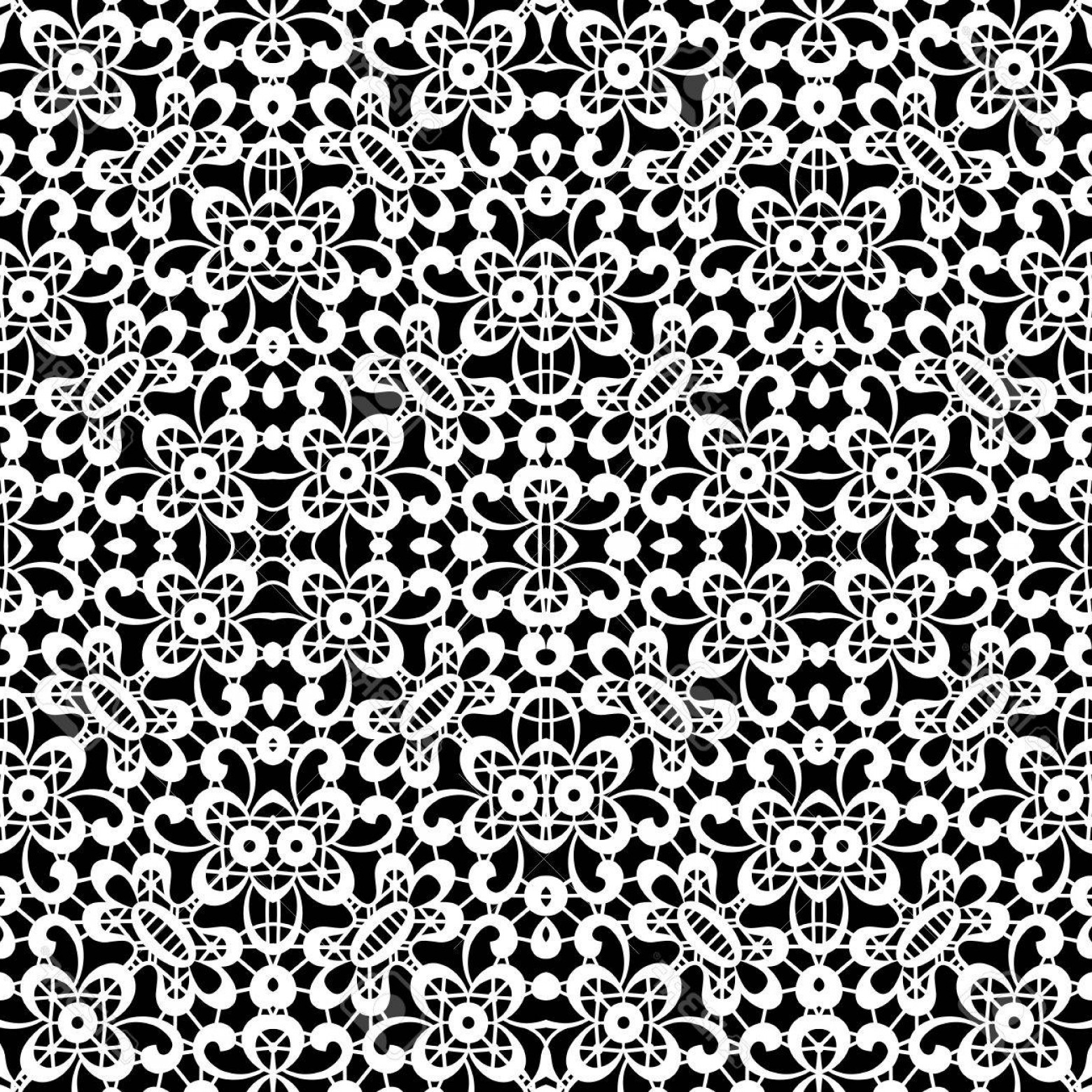 Tulle Black Lace Pattern Vector: Photostock Vector Black And White Lace Texture Seamless Tulle Pattern