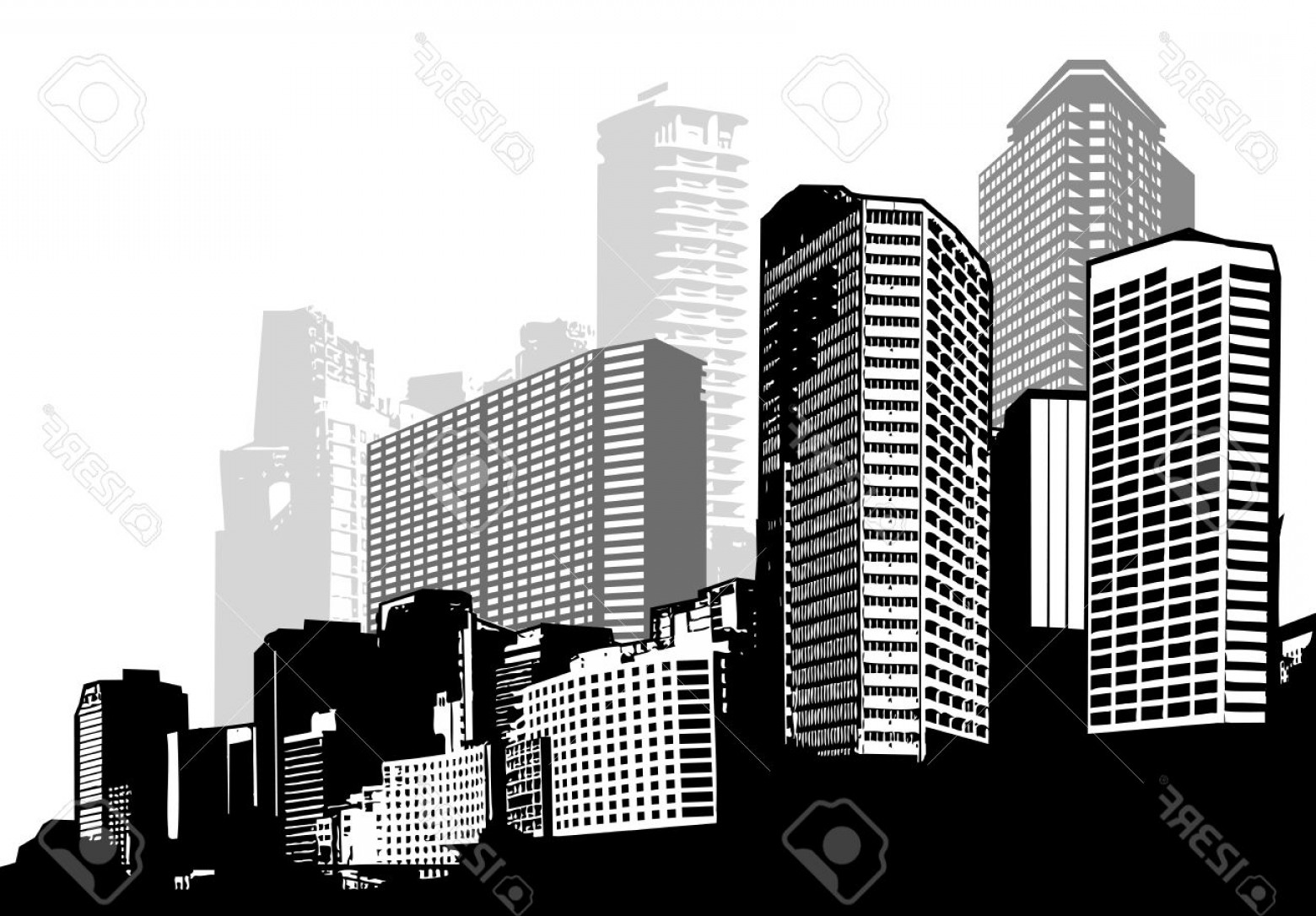 City Vector: Photostock Vector Black And White Panorama City Vector Art