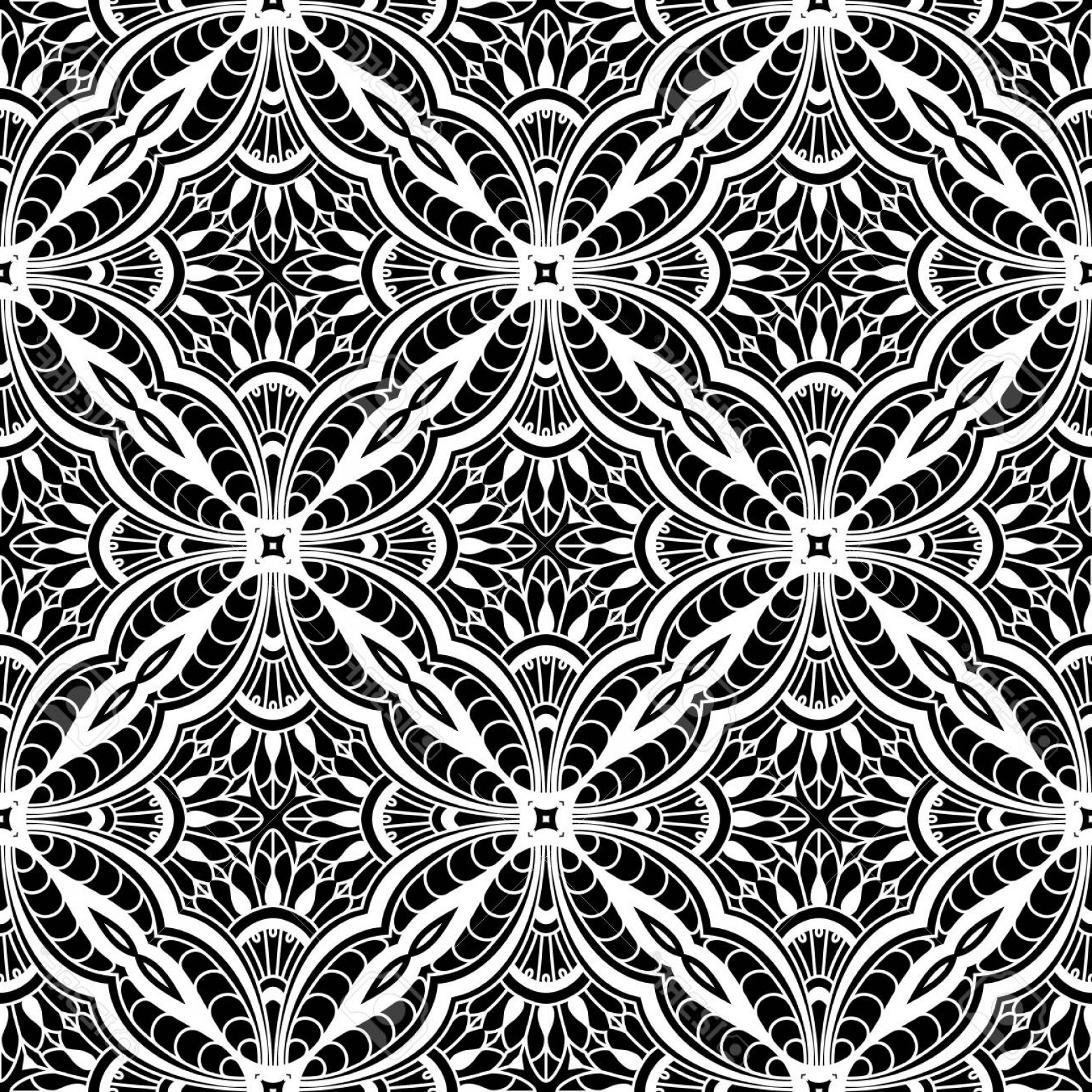 Tulle Black Lace Pattern Vector: Photostock Vector Black And White Seamless Pattern Lace Texture Vector Tulle Ornament