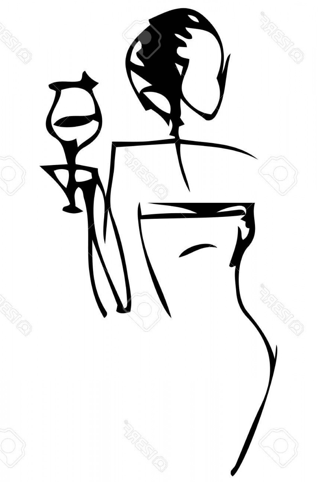 Elegant Woman Silhouette Vector: Photostock Vector Black And White Silhouette Vector Sketch Of An Elegant Woman With A Glass