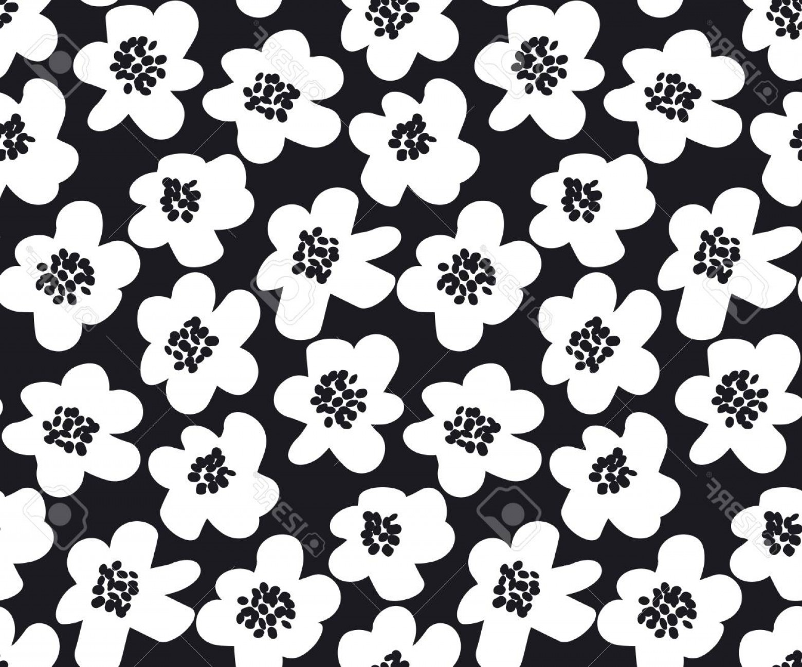 60s Vector: Photostock Vector Black And White Summer Floral Vector Illustration In Retro S Style