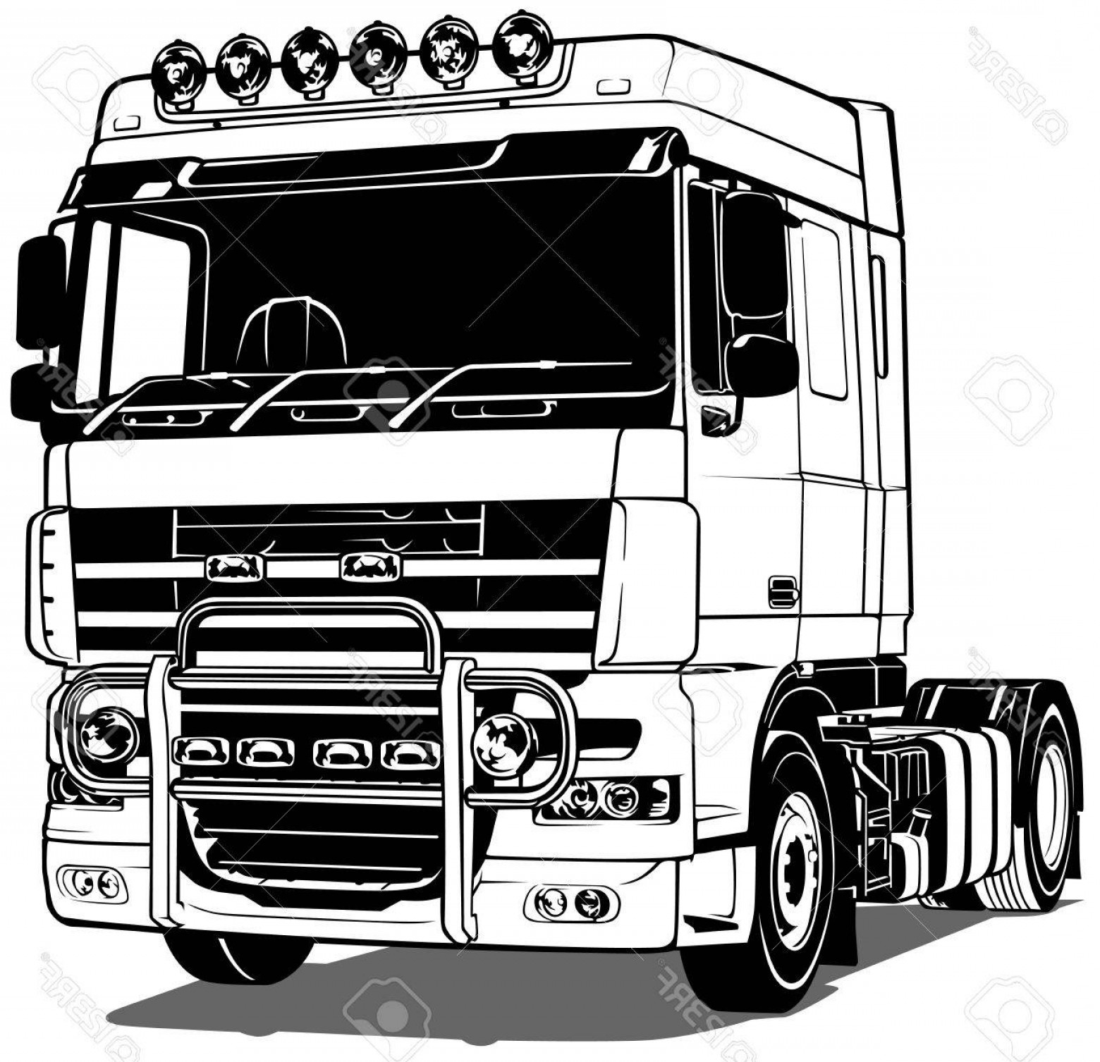 Vector Semi Tanker: Photostock Vector Black And White Truck Outlined Vector Illustration