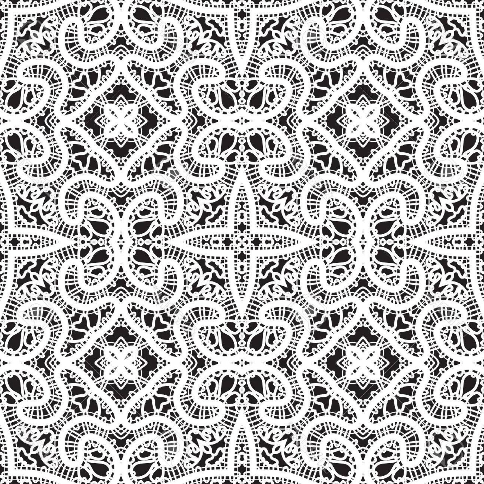 Tulle Black Lace Pattern Vector: Photostock Vector Black And White Tulle Ornament Handmade Tatting Lace Texture Seamless Pattern