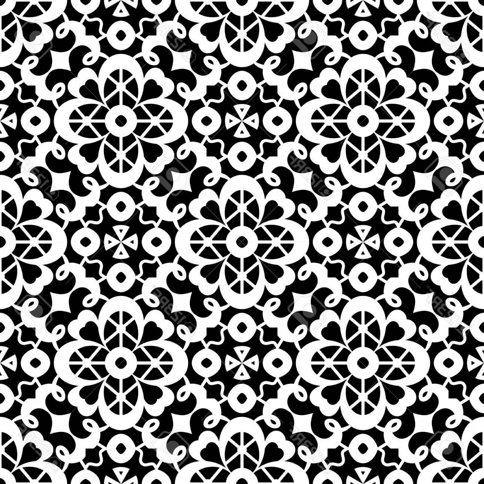 Tulle Black Lace Pattern Vector: Photostock Vector Black And White Tulle Ornament Lace Texture Seamless Pattern