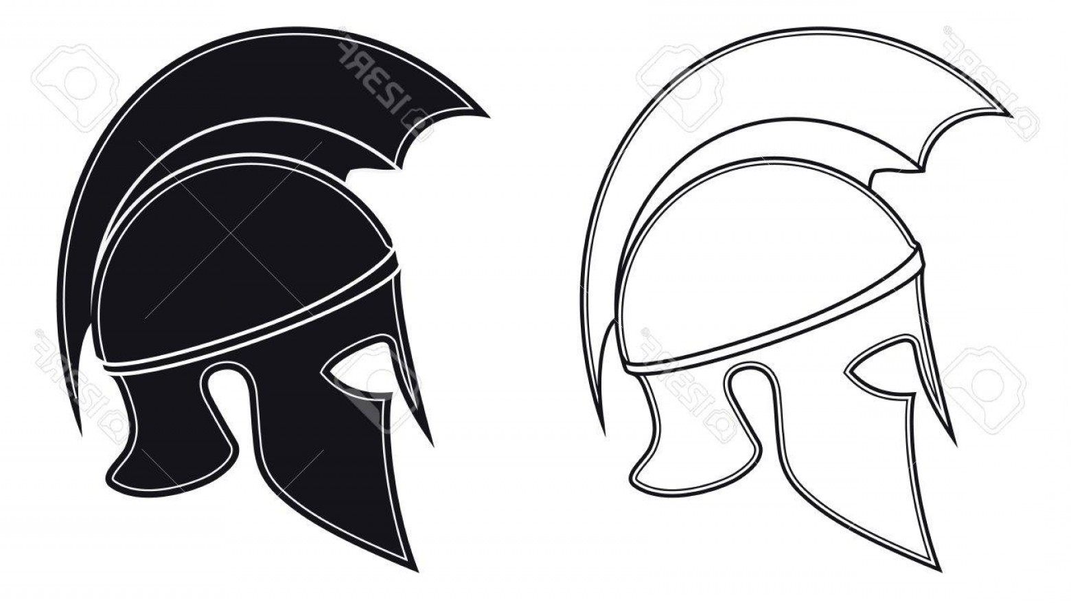 Boba Fett Vector Black And White: Photostock Vector Black And White Vector Illustration Of A Side Silhouette On Ancient Greek Warrior Helmet Spartan Hel