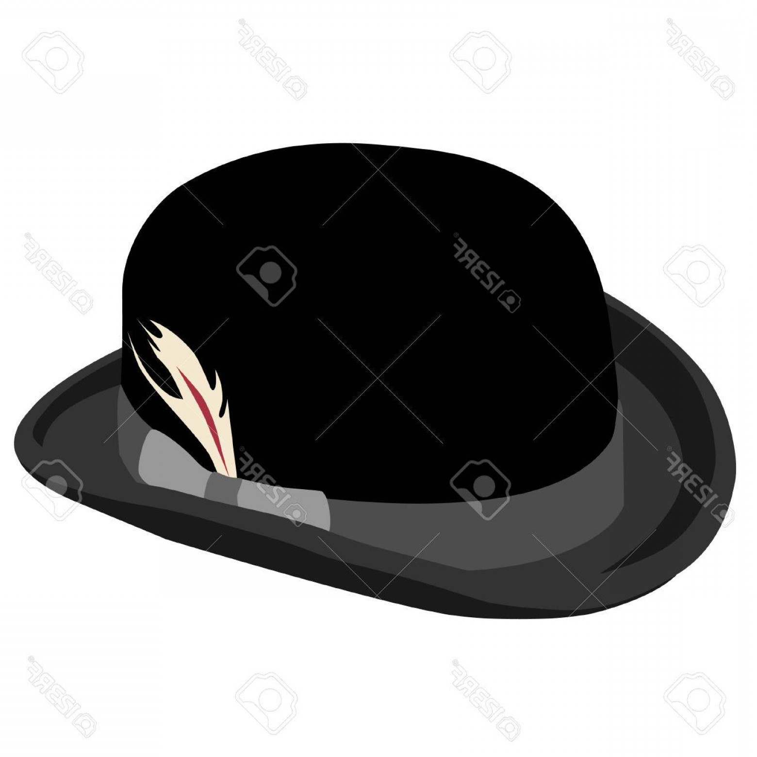 Bowler Hat Vector: Photostock Vector Black Bowler Hat With Feather Vector Isolated On White Retro Hat Vintage Hat