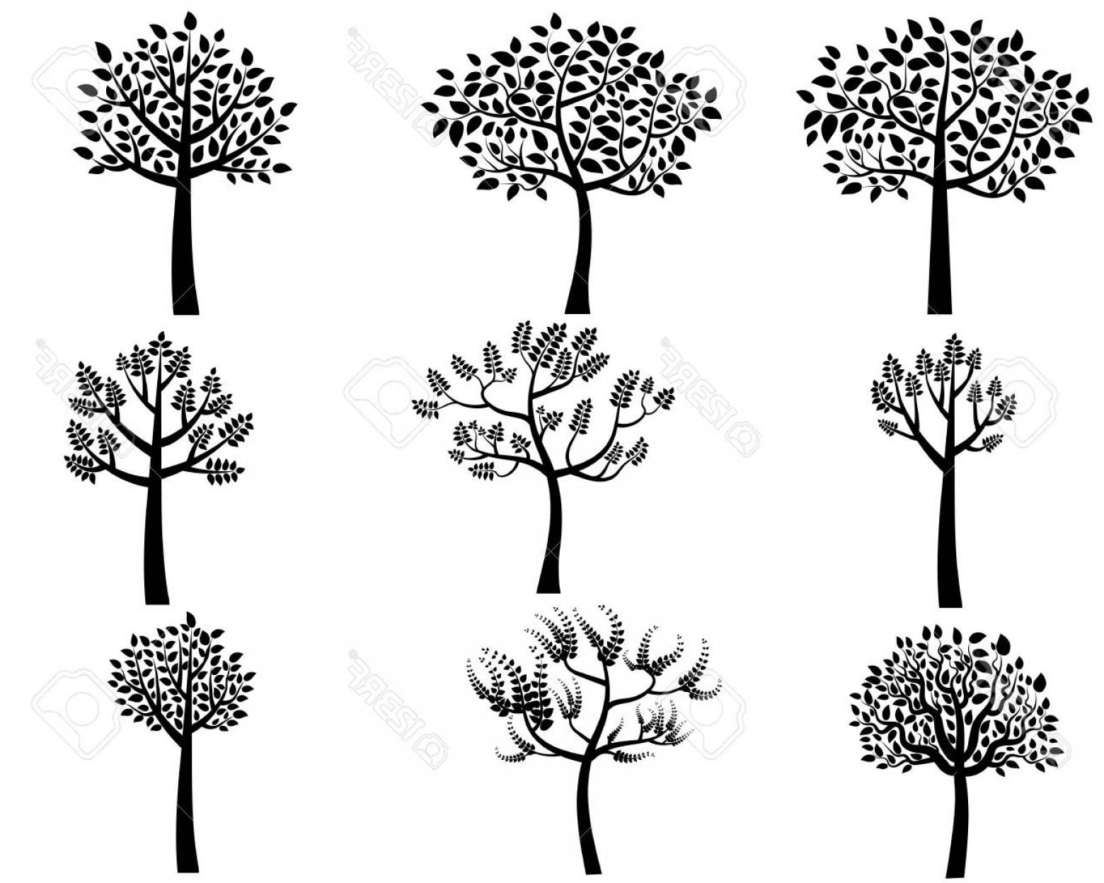 Contoon Free Black Vector Tree: Photostock Vector Black Cartoon Vector Tree Silhouettes With Leaves