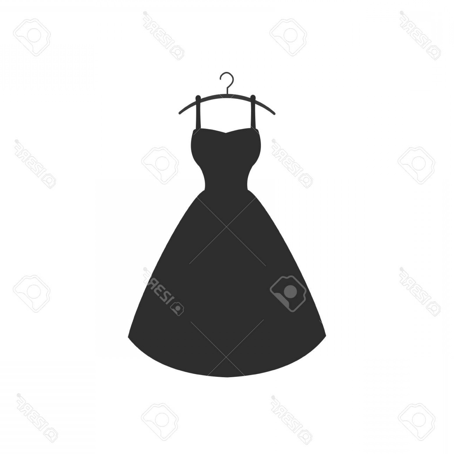 Vector Images Of Black And White Dresses: Photostock Vector Black Cocktail Dress Vector Flat Icon On White Background