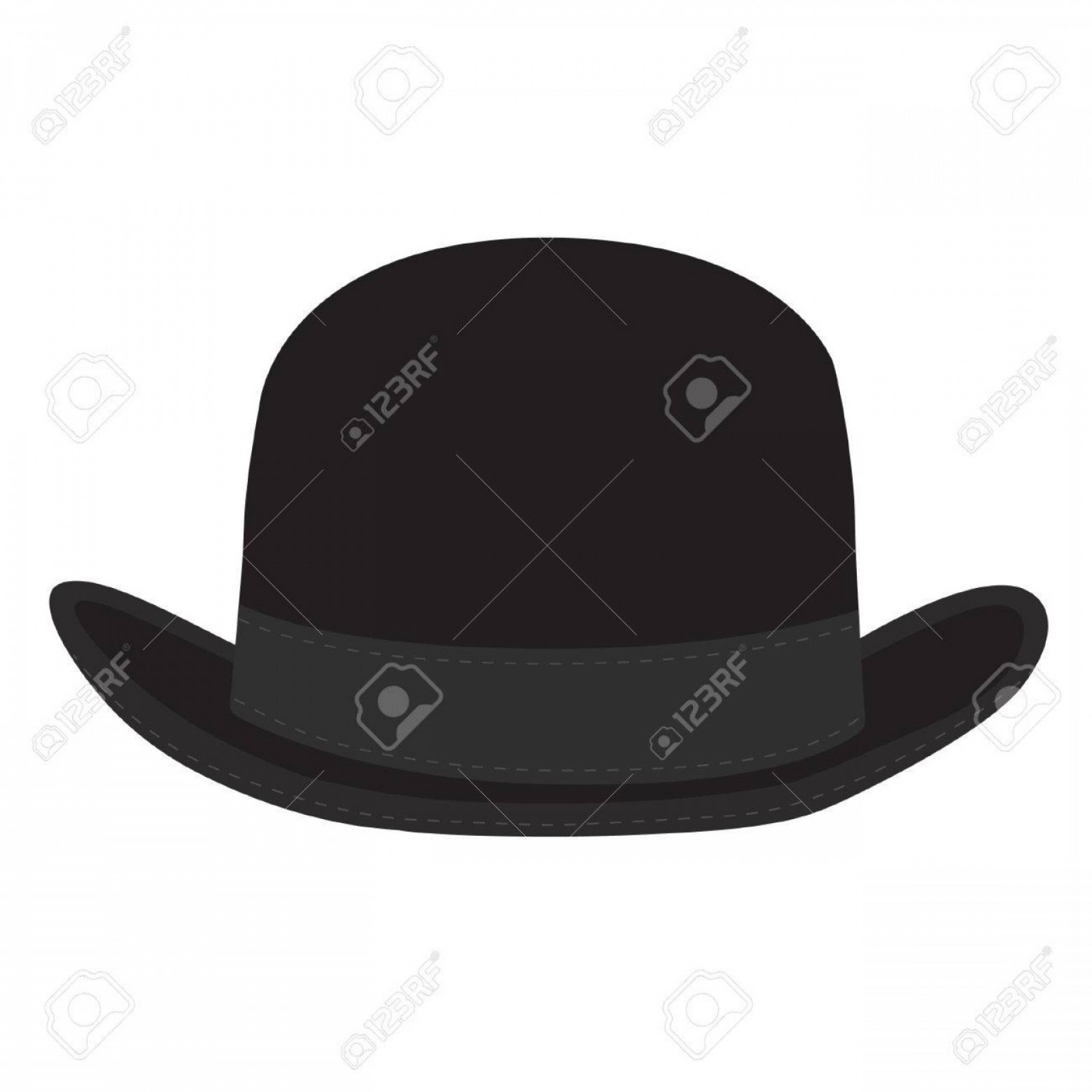 Bowler Hat Vector: Photostock Vector Black Derby Hat Vector Isolated Bowler Hat Black Fashion Gentleman Hat