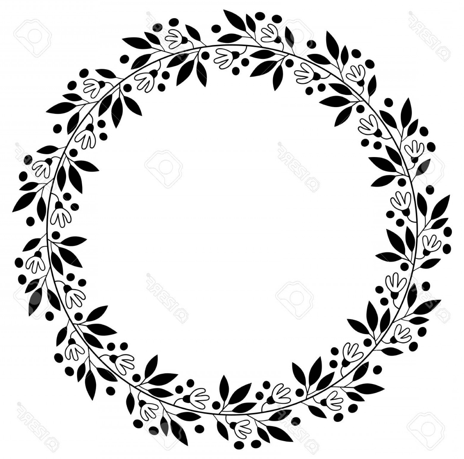 Vector Flower Wreaths In Black: Photostock Vector Black Floral Border For Wedding Invitations And Graphic Design Round Vector Flower Wreath