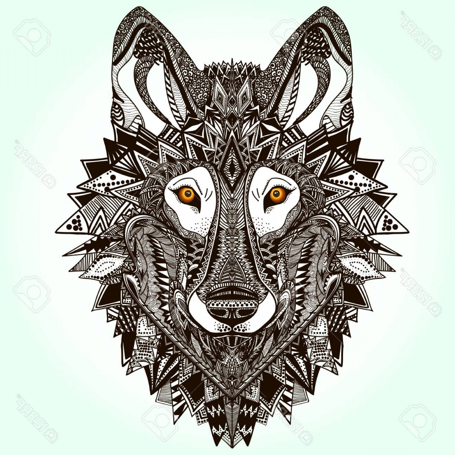 Calm Wolf Vector: Photostock Vector Black Graphic Illustration Of Dangerous Wolf