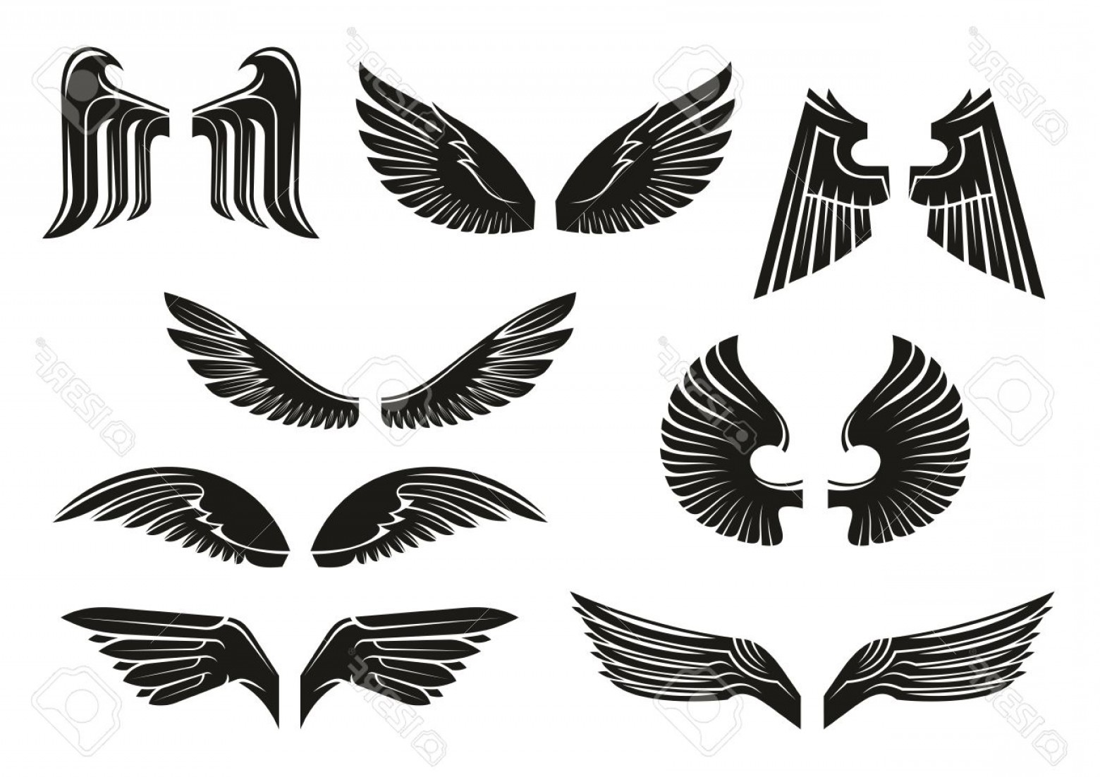 Angel Wings Tattoo Tribal Vector: Photostock Vector Black Heraldic Wings Set In Tribal Style For Tattoo And Book Heraldry Or Religious Design Isolated O