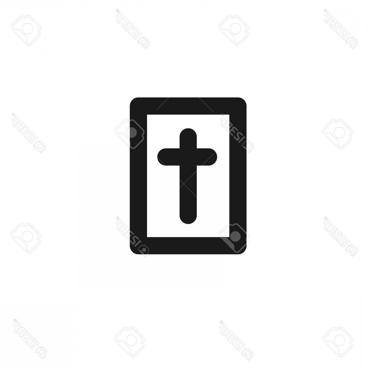 Holy Bible Vector: Photostock Vector Black Holy Bible Vector Line Icon On White Background
