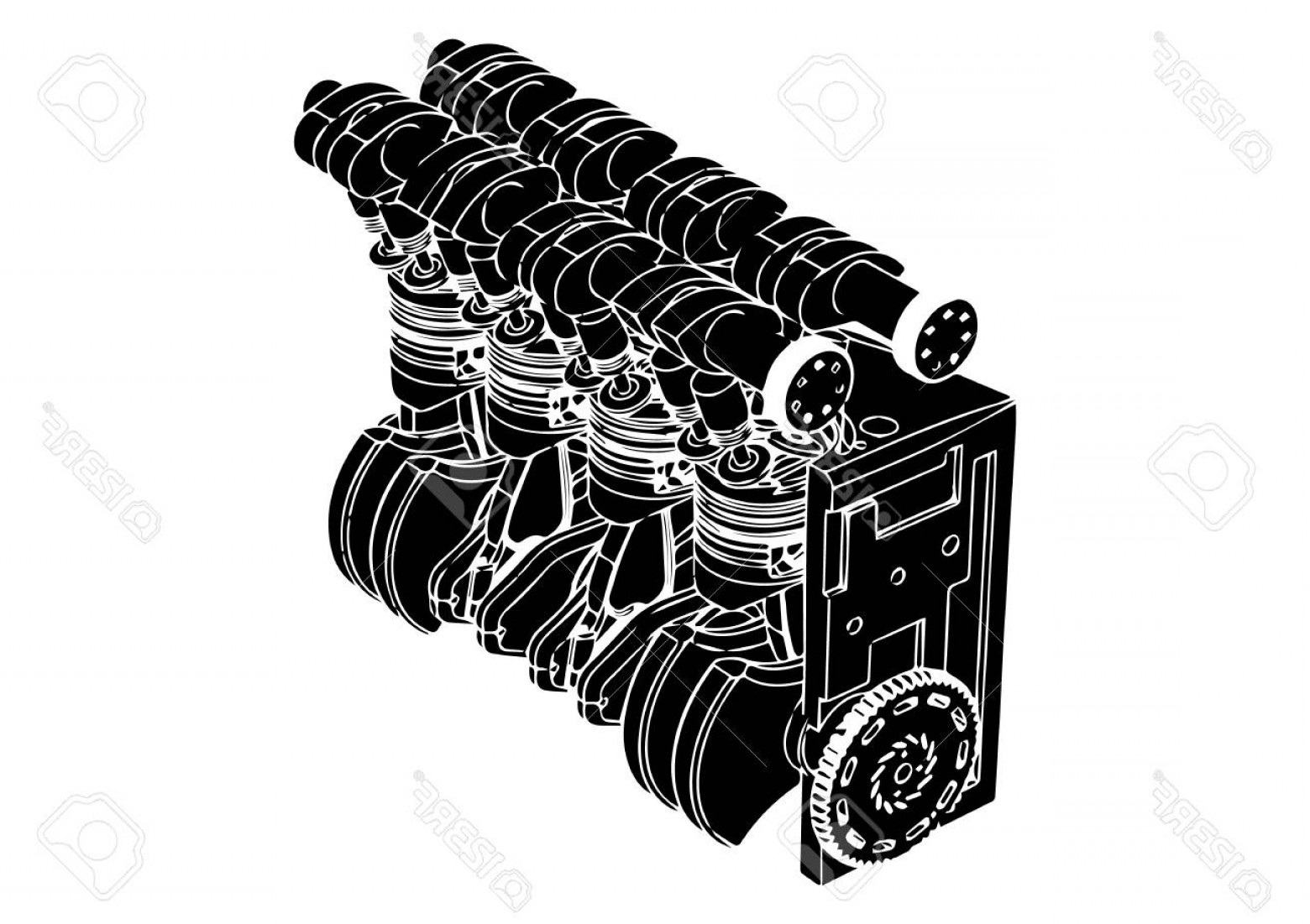 Combustible Engine Vector: Photostock Vector Black Internal Combustion Engine On A White Background