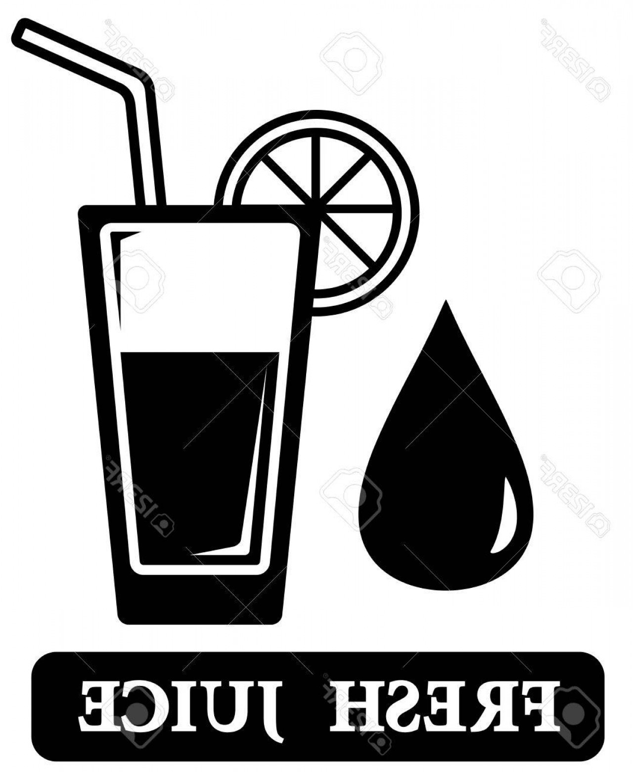 Juice Vector Black: Photostock Vector Black Isolated Fresh Juice Icon With Glass Silhouette