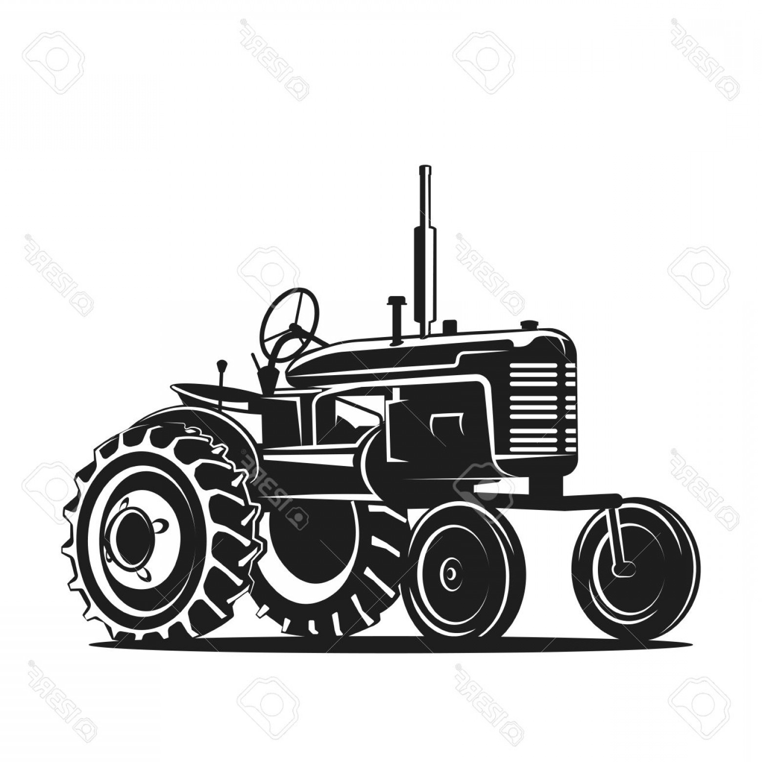 Free Tractor Vector: Photostock Vector Black Old Tractor Silhouette On White Background