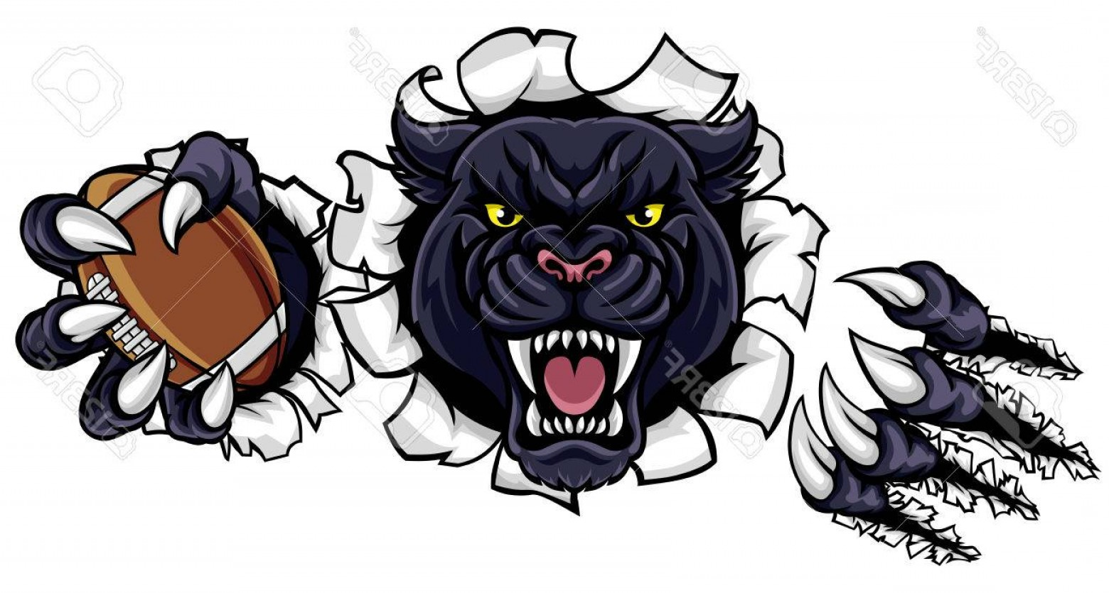 Vector Panther Football: Photostock Vector Black Panther American Football Mascot
