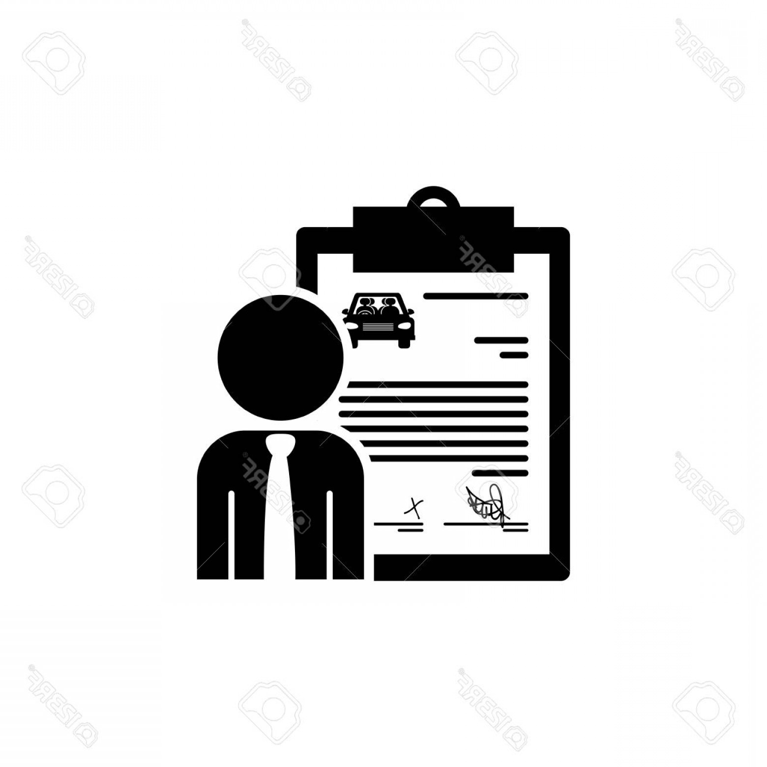 Salesman Vector: Photostock Vector Black Silhouette Car Contract And Salesman Vector Illustration