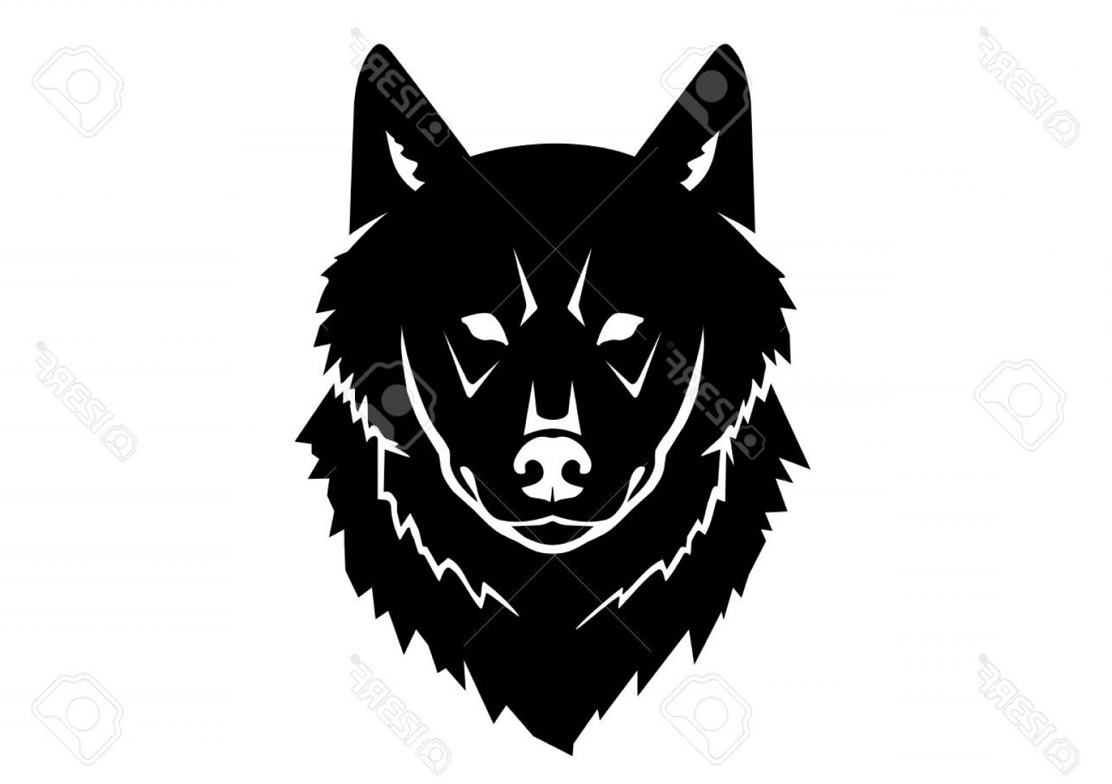 Calm Wolf Vector: Photostock Vector Black Silhouette Of A Wild Wolf On A White Background Symmetric Drawing Of An Animal Head From The F