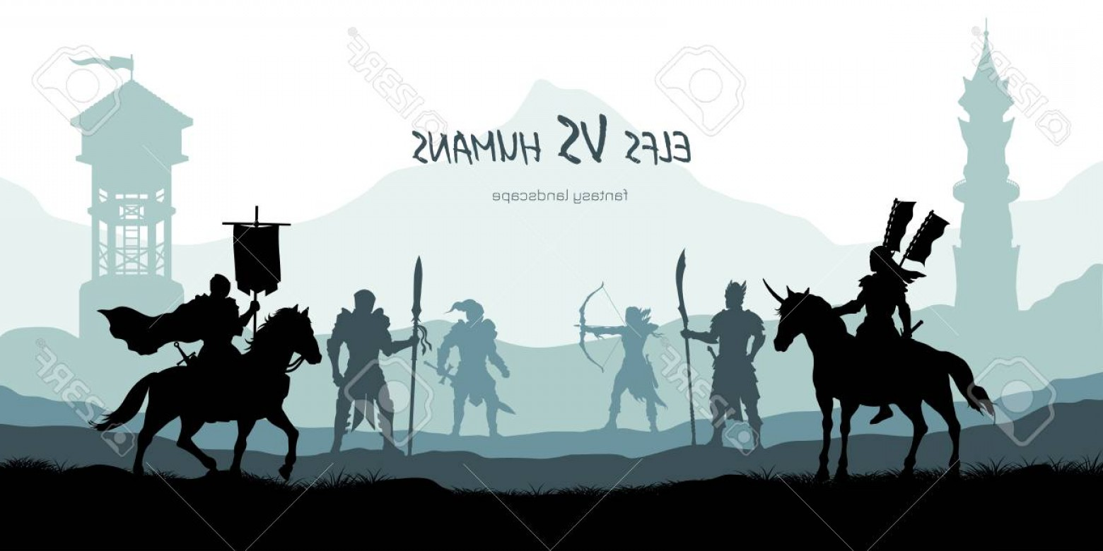 Black Horse Vector Scene: Photostock Vector Black Silhouette Of Battle Humans And Elfs Fantasy Landscape Medieval D Panorama Knights And Warrio