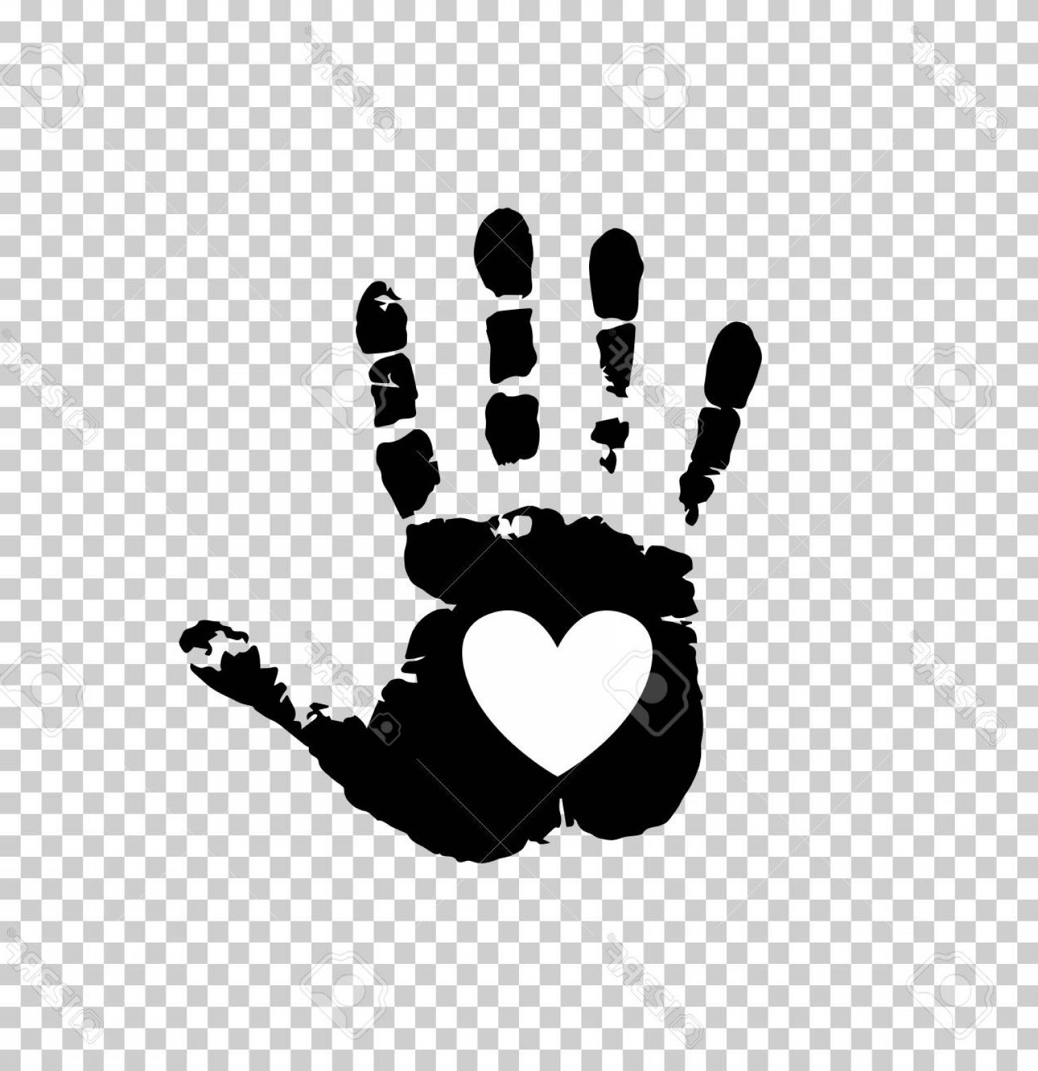 Hand Prints Vector Transparent Background: Photostock Vector Black Silhouette Of Human Hand Print With Heart Sign In Open Palm Isolated On Transparent Background