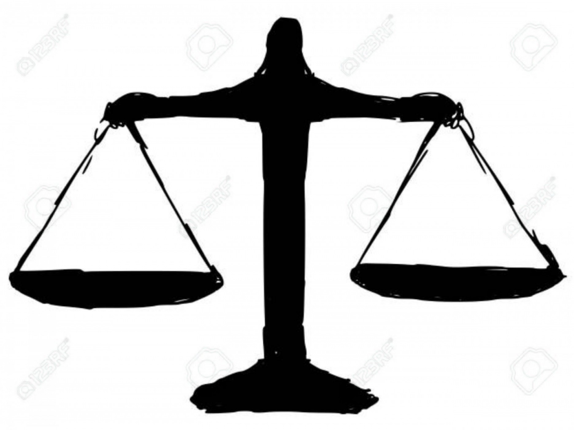 Scales Of Justice Vector: Photostock Vector Black Silhouette Of Justice Scales