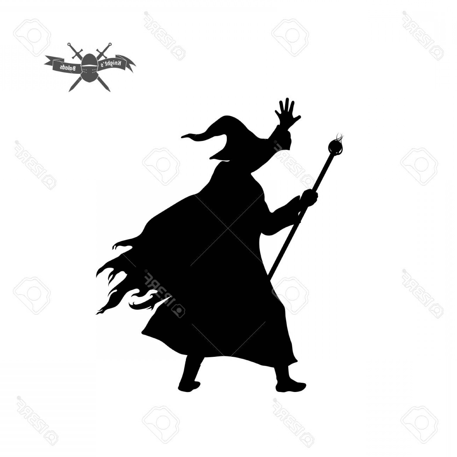 Wizard Silhouette Vector: Photostock Vector Black Silhouette Of Wizard With Hat And Staff Vector Illustration