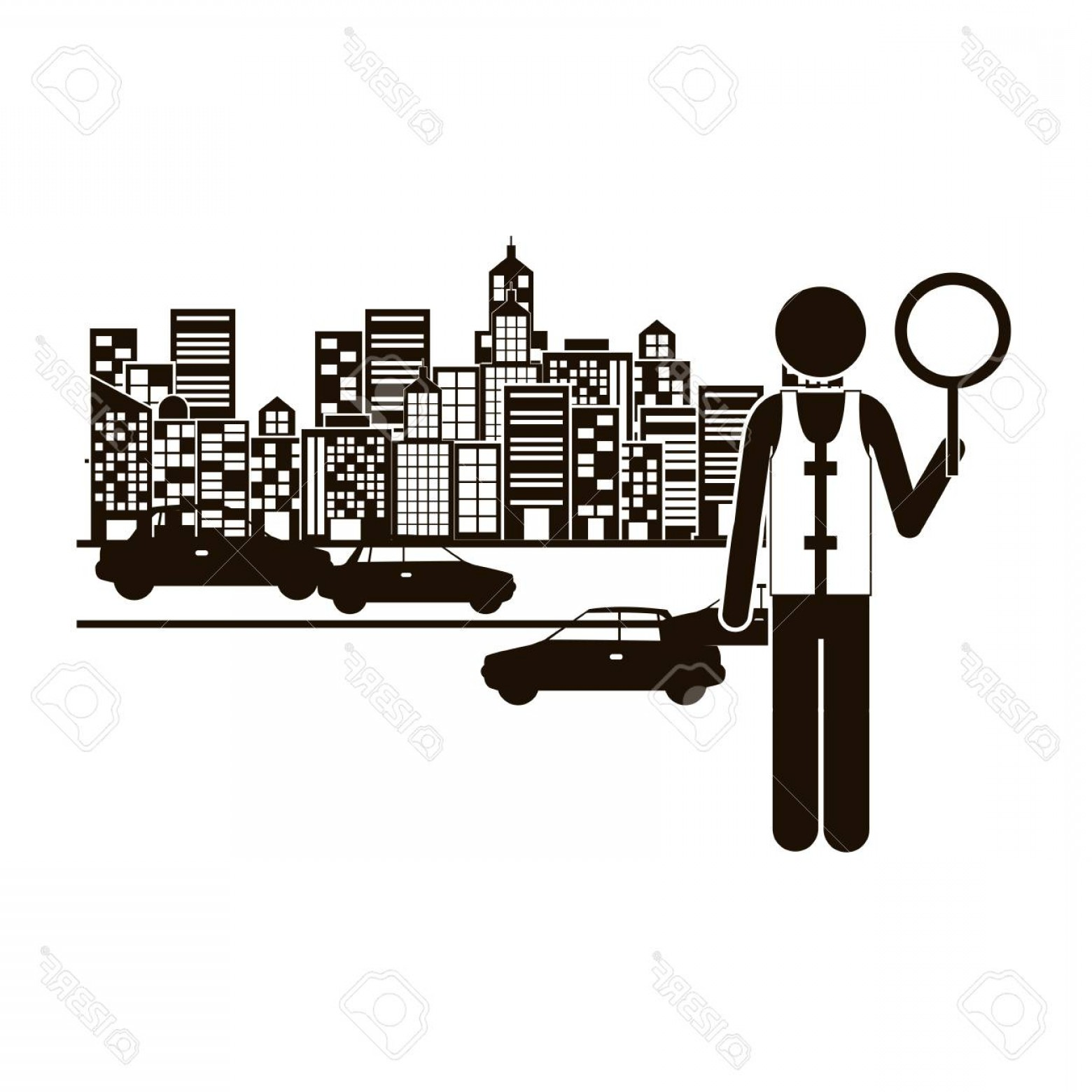 Cars Skyline Vector: Photostock Vector Black Silhouette Traffic Guard In City With Cars Vector Illustration