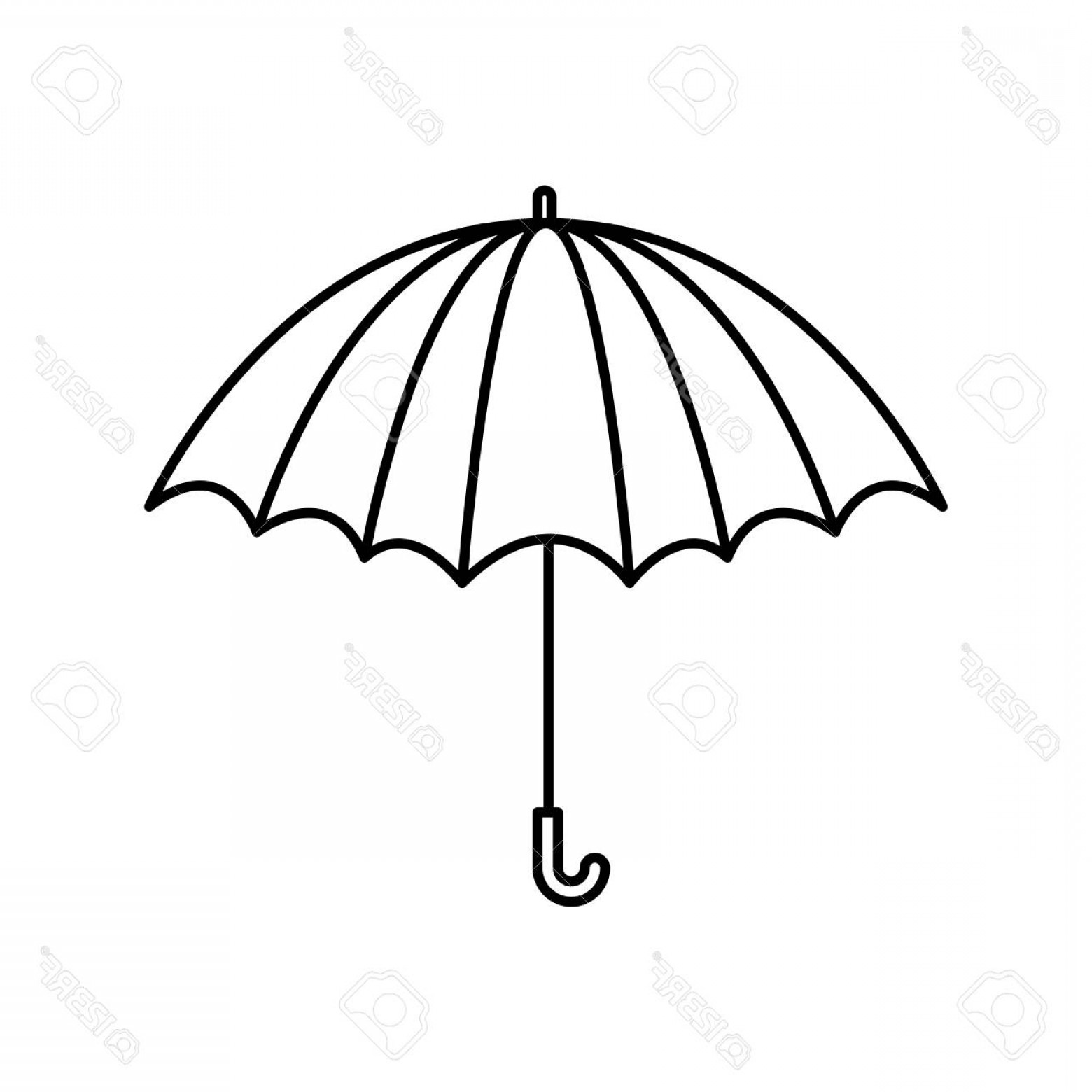 Umbrella Vector Black: Photostock Vector Black Silhouette With Opened Umbrella Vector Illustration