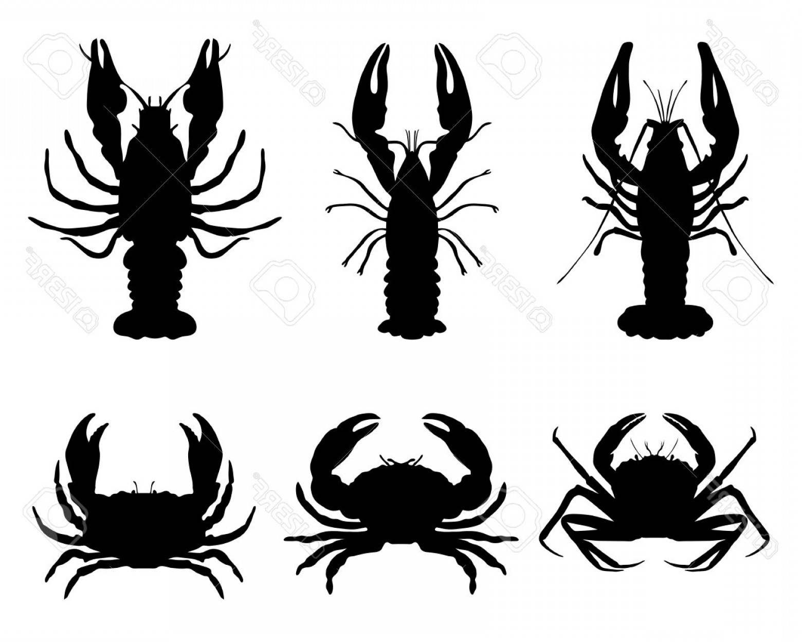 Crab Vector Black: Photostock Vector Black Silhouettes Of Crawfish And Crab Vector