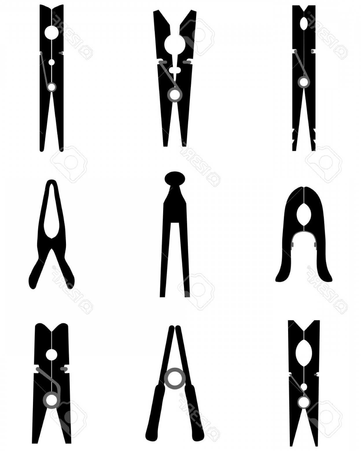 Vector Clothes Pins: Photostock Vector Black Silhouettes Of Different Clothespins