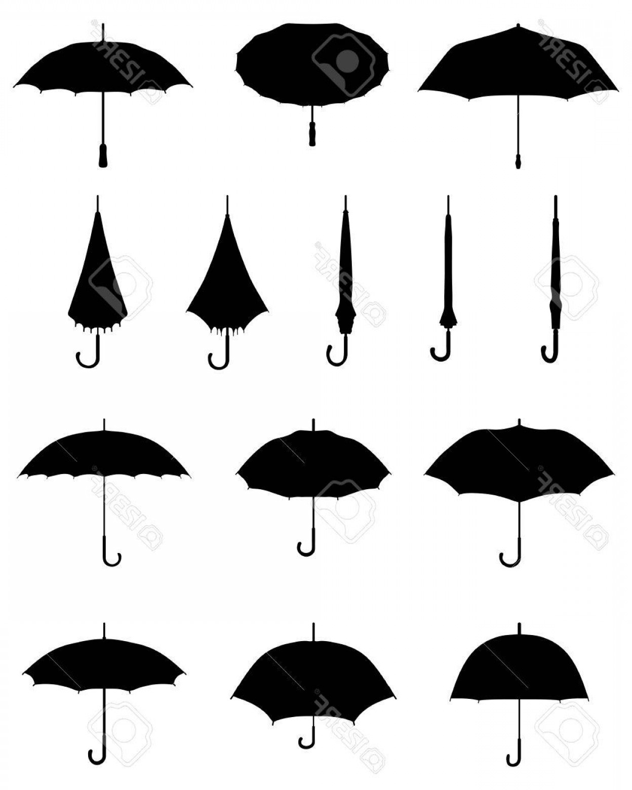 Umbrella Vector Black: Photostock Vector Black Silhouettes Of Open And Closed Umbrellas Vector