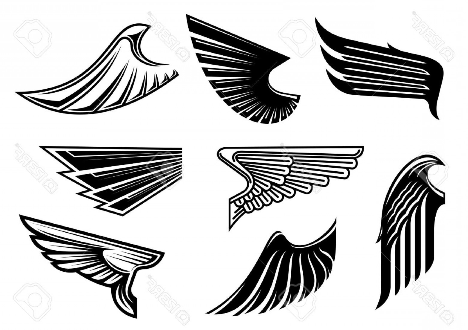 Vector Black Tribal: Photostock Vector Black Tribal Wings With Pointed Feathering Isolated On White For Tattoo Religious Or Heraldic Design